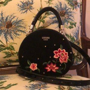 Guess Mini Embroidered Handbag In Black Velvet